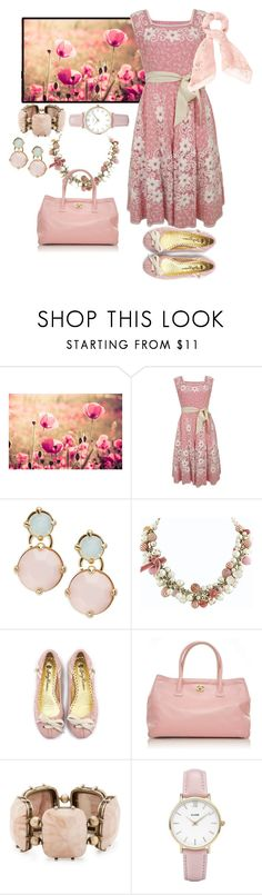 """""""flowers and dresses"""" by vst063090 ❤ liked on Polyvore featuring Priestley's Vintage, R.J. Graziano, Chanel, Juicy Couture, Matthew Williamson, CLUSE and Alexander McQueen"""