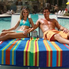 """Make summer last longer with a towel for two! Striped Tandem Towel is 60""""x70"""", 100% cotton, jacquard velour, twill hemmed."""
