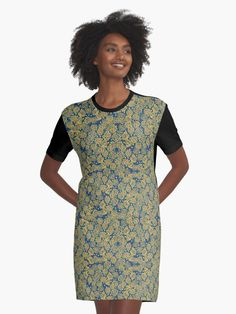 """Spring Blossom - ultramarine, yellow & orange, floral pattern"" Graphic T-Shirt Dresses by clipsocallipso 