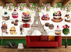 Retro Eiffel Tower And Bakery Art Wall Murals Wallpaper Decals Prints Decor IDCWP-JB-000851