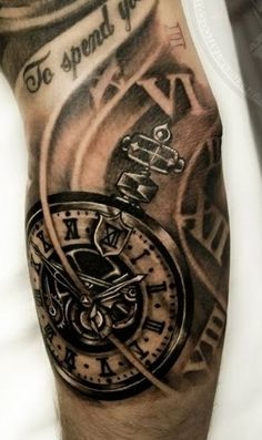 black-and-white-tattoos-mens-clock
