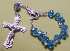 Aqua Blue Faceted Crystal Finger Rosary by RosariesbyEsther