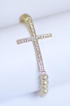 Gold Side Cross Bead Bracelet