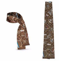 LOUIS VUITTON Monogram Trunk Bandeau Scarf Brown Silk Bracelet Purse Wrap Belt #LouisVuitton #Scarf