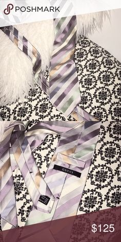 Gucci Striped Tie new without tags. authentic. silver/gray, striped with green, lavender, gold. Gucci Accessories Ties