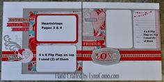 HEARTSTRINGS Kit of the Month creates 7 stunning pages! Pages 3&4 have 4x6 flip flaps which are layered.  Learn more about it here:  http://lynncomo.com/5075/heartstrings-a-stunning-kit-of-the-month/