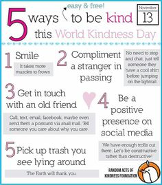 5 easy & free ways to be kind!