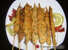 Μύδια Σουβλάκι Greek Cooking, Fish And Seafood, Sweet Recipes, Shrimp, Sausage, Menu, Chicken, Kitchens, Menu Board Design