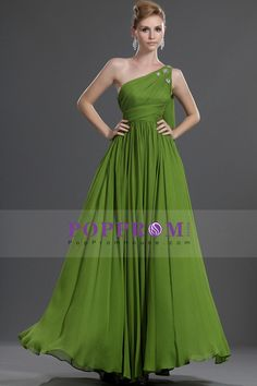 Simple prom dresses a-line one-shoulder floor-length chiffon zipper up