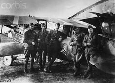 Pilot Eddie Rickenbacker, in the middle, the most decorated American pilot during World War I, with other soldiers of the 94th Squadron in France, 1917.