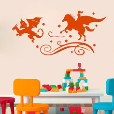 Wall Decal Vinyl Sticker Fairy Tales Reading Books Knight Dragon Chase Good and Evil Good Night Baby Room Nursery Mural Home Décor Kids Dear