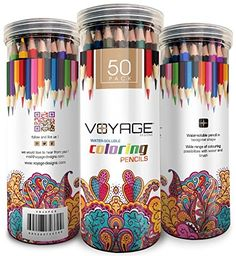 Colored Pencils By Voyage Designs Pack Of 50 Adult Coloring Assorted Colors Watercolor Set Durable Case For Books Drawing