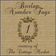 Burlap Numer Tags Free A Set from 1-20