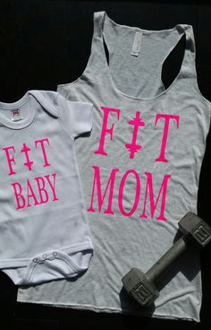 Matching Fit Mom and Fit Baby - Ladies Racer Back Tank and Onesie-Bodysuit - Unisex kids Clothing - Gym Sayings - Baby Shower Gift by OneKinkClothing on Etsy