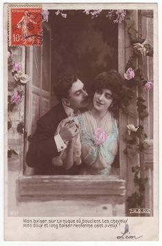 romantic couple french postcard - 1908 - front