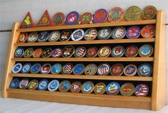 5 Rows Military Challenge Coin / Casino Chip Display Rack Holder Stand, solid wood - OAK Finish (COIN5-OA)