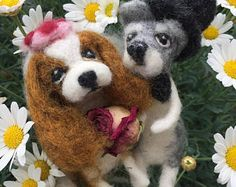 Dog Wedding Cake Topper/Needle Felted Bride and Groom/Bridal/Custom Made/Newlywed/Lady and Tramp/Animal Topper