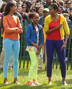 Malia, Sasha and Michelle Obama rocking the colors at the White House Easter Egg roll, 2012. (Wow, 13yo Malia is already taller than her 6 foot mom!)