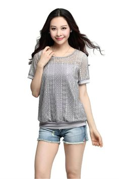 TQYN3735 Sheer Laces Blouse - Grey