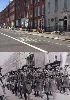 This old photo shows members of Cumman na mBan marching down Parnell Square in the time leading up to the rising. The modern day Garden of Remembrance commemorating the Rising & the War of Independence is further up on the left in the new photo. Then And Now Pictures, Old Pictures, Old Photos, Ireland Pictures, Ireland 1916, Irish Independence, Easter Rising, Erin Go Bragh, Collor