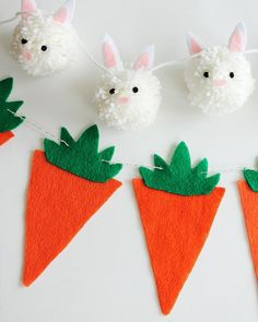 Sweet bunnies and darling carrots form garlands that will make your Easter celebrations amazing!