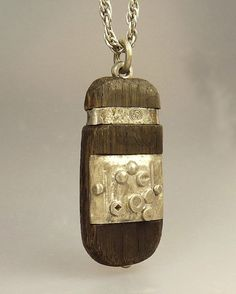 Mid Century Brutalist Wood & Silver Pendant Necklace by jujubee1