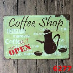 Cafe Coffee Vintage Home Decor Metal Signs