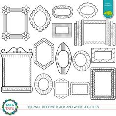 Doodle Frames Digital Stamp Pack - Black and White Clipart / Black and White Frames / Hand drawn Fra Black And White Frames, Clipart Black And White, Digital Stamps, Digital Scrapbooking, Drawing Frames, Drawing Ideas, Cricut Explore Projects, Doodle Frames, Small Business License