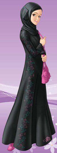 A woman looks amazing in all black. It's elegant, stylish, striking, and this sparkly abaya should be in my closet. Muslim Girls, Muslim Women, Hijab Drawing, Hijab Cartoon, Islamic Girl, Hijab Fashion Inspiration, Muslim Hijab, Islamic Fashion, Girl Hijab