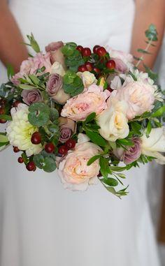 Dahlias, hippericum berries, garden roses and eucalyptus - love this combination