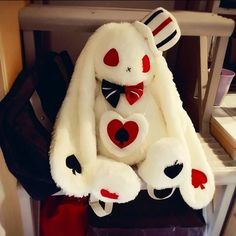 This creepy cute white rabbit plush backpack is a must have for any kawaii babe with a love for dark gothic fashion, with a kawaii twist! Featuring a sweet long-eared bunny with red eyes, a stitched up mouth, and black and white bow tie as well as poker p Bunny Hat, Bunny Plush, Cute Plush, Kawaii Bunny, Dark Gothic, Cute Stuffed Animals, Sewing Stuffed Animals, Plush Pattern, Creepy Cute