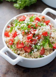 Healthy Quinoa Salad with Homemade Feta Vinaigrette :: quick, easy, + uber tasty!