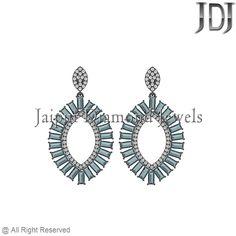 Pave Diamond Sterling Silver Blue Topaz Baguettes Marquoise Shape Drop Earrings #earrings #gemstone #baguettes #diamondjewelry #pavediamond #beautiful #fashion #handmade #dropdangle #flower #topaz