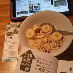 """VioletMaeAndLucas: """"I am here"""" eating breakfast ( muesli from sliced banana & Koko coconut milk), catching up on and thinking of making the recipe on the back of my bookmark for my Muesli, Vegan Breakfast, Coconut Milk, Ants, Fig, Glutenfree, Oatmeal, Banana, Instagram Posts"""