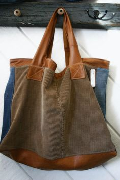 Large tote leather denim and cord bag Leather Hobo di terryharmon