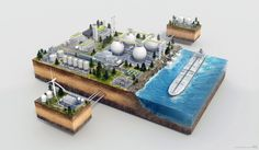 3D Cutaway, Technical Illustration of a Factory