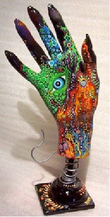 """(could use the homemade hand diy for this too) - """"Evil Eye Muse"""" Fibre glass mannequin hand primed, painted laquered, hand made stand/pedestal - Salvaged mannequin hand """"sculptures"""" painted, assemblage, varnish- Hand Art at Sterlingartz Hand Sculpture, Sculpture Painting, Plaster Hands, Hand Kunst, Unique Art Projects, Mannequin Art, Mannequin Torso, Graffiti, 3d Studio"""