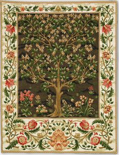"""Another William Morris Tree of Life tapestry design, woven in Belgium. The earthy colours are not really authentic, but if it works for you ... 39""""x27""""."""