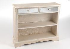 Console étagère Art déco avec une patine effet craquelé et un tiroir miroir.