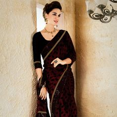 #Maroon #GeorgetteSaree with Blouse