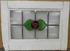 """OLD ENGLISH LEADED STAINED GLASS WINDOW Gorgeous Rose Design 19.5"""" x 14.5"""""""