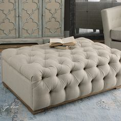 THE WELL APPOINTED HOUSE - Luxuries for the Home - THE WELL APPOINTED HOME Plush Diamond Tufted Ottoman in Antique White Linen