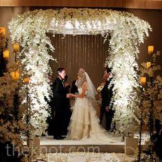 Real Weddings - An Elegant Wedding in Fort Lauderdale, FL - Lush White Floral Huppah