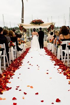 rose petal-lined walkway