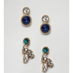 ASOS Pack of 2 Mini Jewel Occasion Stud Earrings (925 RSD) ❤ liked on Polyvore featuring jewelry, earrings, gold, stud earrings, asos earrings, jewel earrings, bullet stud earrings and jewels jewelry