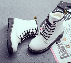 Winter student martin boots - Thumbnail 1 - April 14 2019 at Top Shoes, Cute Shoes, Me Too Shoes, Yellow Boots, White Boots, Fashion Boots, Sneakers Fashion, Fashion Clothes, Timberland Boots Outfit