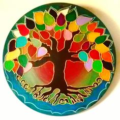 Cd Crafts, Tile Crafts, Arts And Crafts, Stained Glass Paint, Celtic Tree Of Life, Silk Painting, Mandala Design, Plates, Fine Art