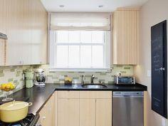 Kitchen: Modern Kitchen With Green Tile Backsplash. small kitchen appliances. dark countertop. wooden kitchen cabinet. tile backsplash. small kitchen.