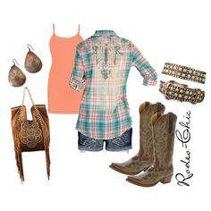 Rodeo-Chic Cowboy boots by @Old Gringo Boots with shorts and Kippy's bag / belt.