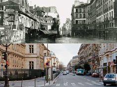 L'élargissement de la rue Réaumur. Parallèle aux Grands Boulevards, cette artère est aujourd'hui l'un des grands axes de circulation parisiens entre l'Opéra et la rue  du Temple. Avant d'être élargie sous le règne du baron, elle traversait l'un des endroits les plus sinistres de la capitale, la fameuse cour des Miracles (à gauche).